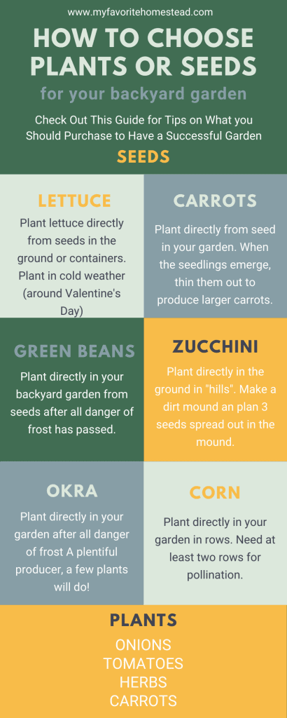 Wondering whether to choose seeds or plants when planting your backyard garden? Sign up to get this FREE printable infographic to help you know what to plant in your vegetable garden. #garden #vegetablegarden #infographic