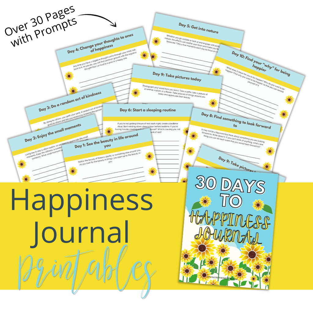 Happiness journal printables mockup with sunflowers